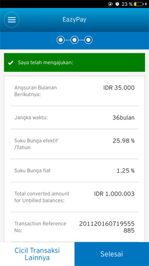 EazyPay Online Conversion & Features - Citibank Indonesia